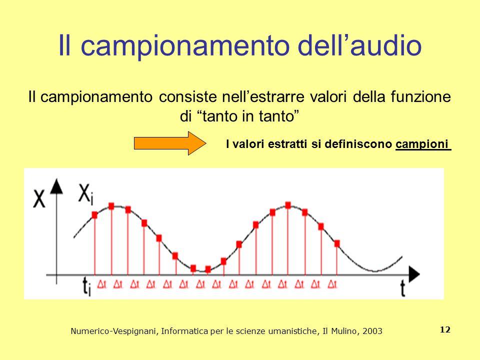 Numerico-Vespignani, Informatica per le scienze umanistiche, Il Mulino, 2003 12 Il campionamento dell'audio Il campionamento consiste nell'estrarre va