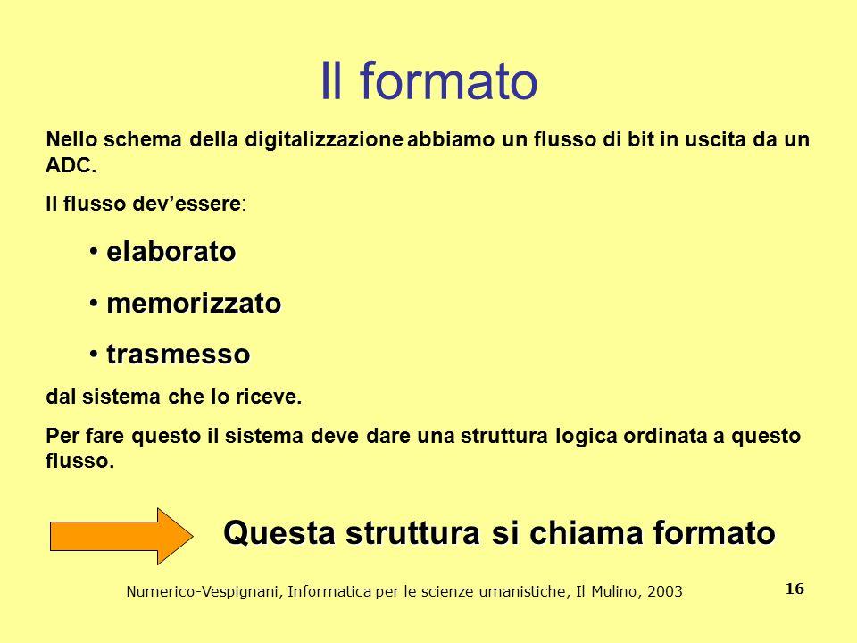 Numerico-Vespignani, Informatica per le scienze umanistiche, Il Mulino, 2003 16 Il formato Nello schema della digitalizzazione abbiamo un flusso di bi