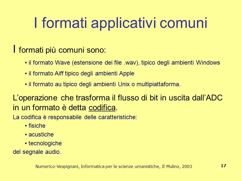 Numerico-Vespignani, Informatica per le scienze umanistiche, Il Mulino, 2003 17 I formati applicativi comuni I formati più comuni sono: il formato Wav