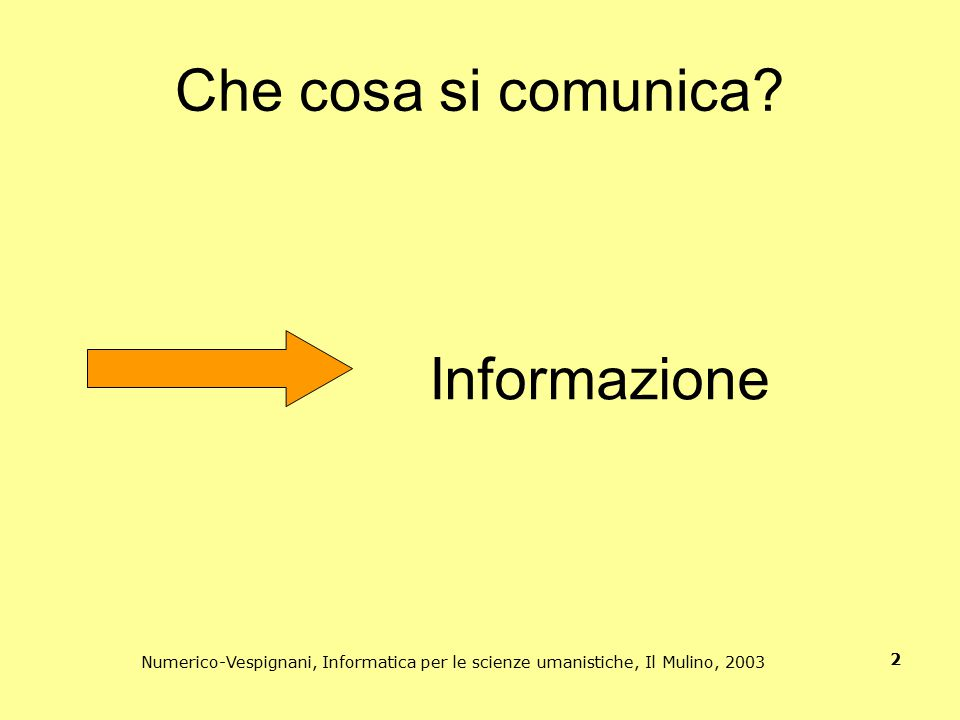 Numerico-Vespignani, Informatica per le scienze umanistiche, Il Mulino, 2003 2 Che cosa si comunica? Informazione