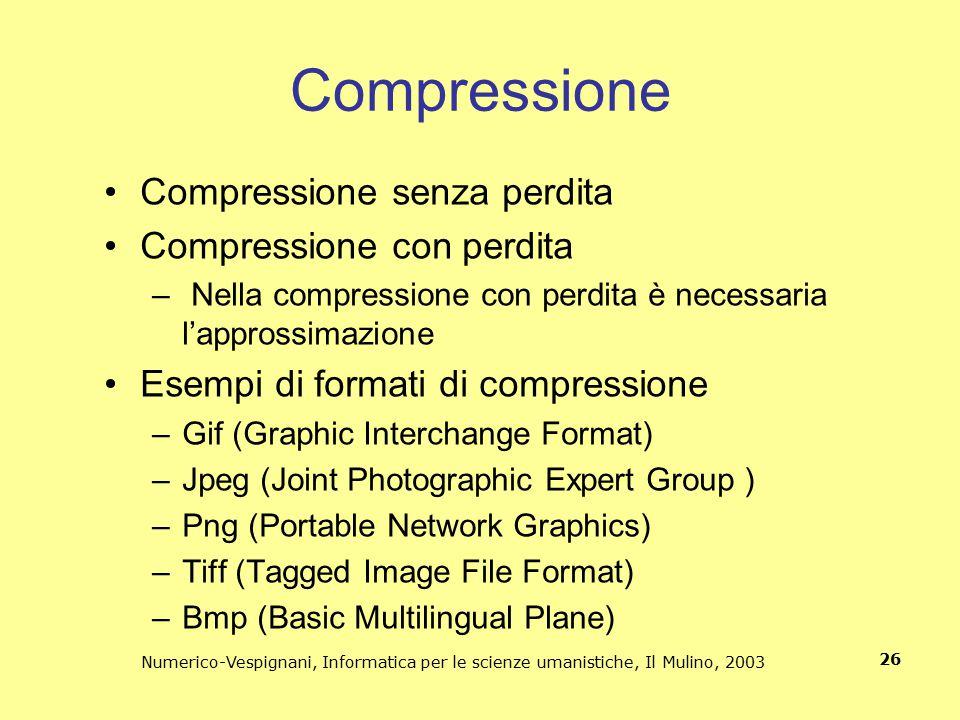 Numerico-Vespignani, Informatica per le scienze umanistiche, Il Mulino, 2003 26 Compressione Compressione senza perdita Compressione con perdita – Nel