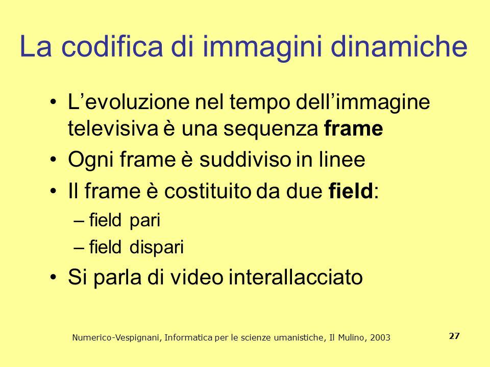 Numerico-Vespignani, Informatica per le scienze umanistiche, Il Mulino, 2003 27 La codifica di immagini dinamiche L'evoluzione nel tempo dell'immagine