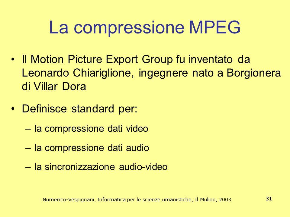 Numerico-Vespignani, Informatica per le scienze umanistiche, Il Mulino, 2003 31 La compressione MPEG Il Motion Picture Export Group fu inventato da Le