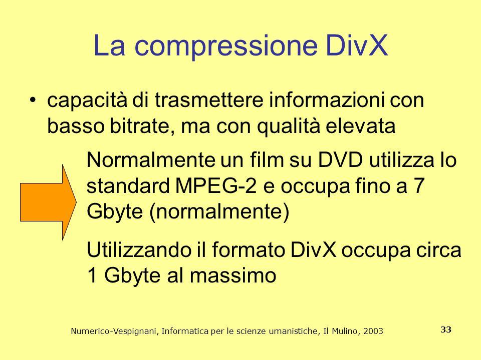 Numerico-Vespignani, Informatica per le scienze umanistiche, Il Mulino, 2003 33 La compressione DivX capacità di trasmettere informazioni con basso bi