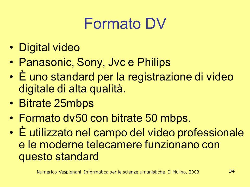 Numerico-Vespignani, Informatica per le scienze umanistiche, Il Mulino, 2003 34 Formato DV Digital video Panasonic, Sony, Jvc e Philips È uno standard