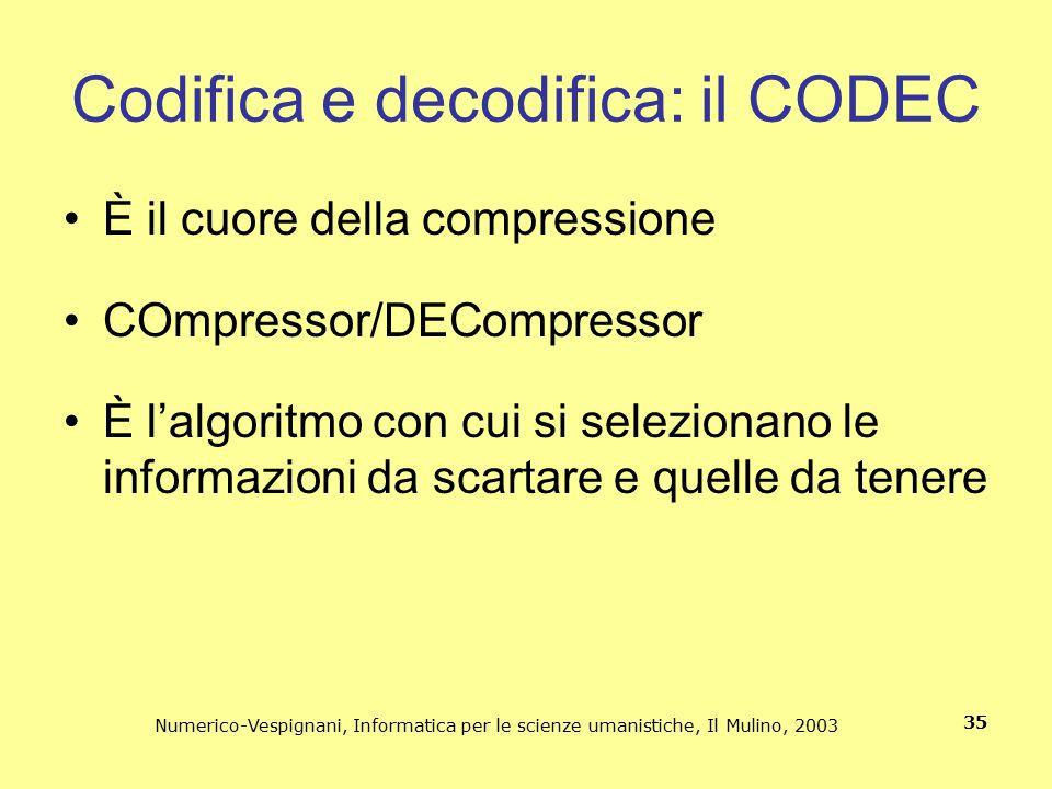 Numerico-Vespignani, Informatica per le scienze umanistiche, Il Mulino, 2003 35 Codifica e decodifica: il CODEC È il cuore della compressione COmpress