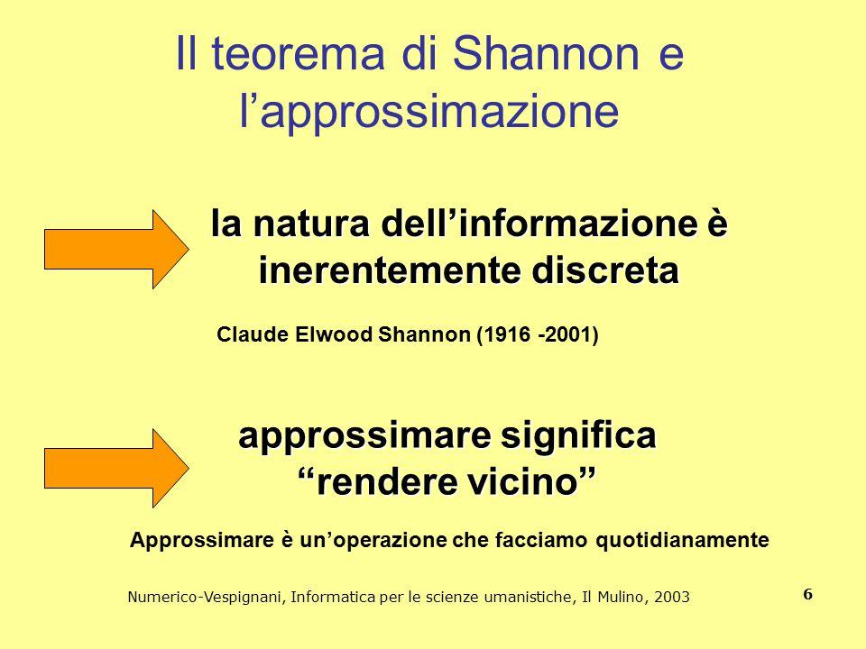 Numerico-Vespignani, Informatica per le scienze umanistiche, Il Mulino, 2003 6 Il teorema di Shannon e l'approssimazione Claude Elwood Shannon (1916 -