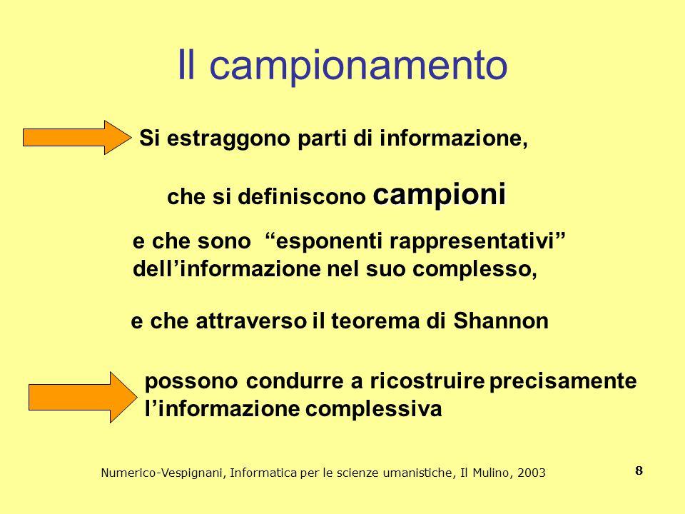 Numerico-Vespignani, Informatica per le scienze umanistiche, Il Mulino, 2003 8 Il campionamento Si estraggono parti di informazione, campioni che si d