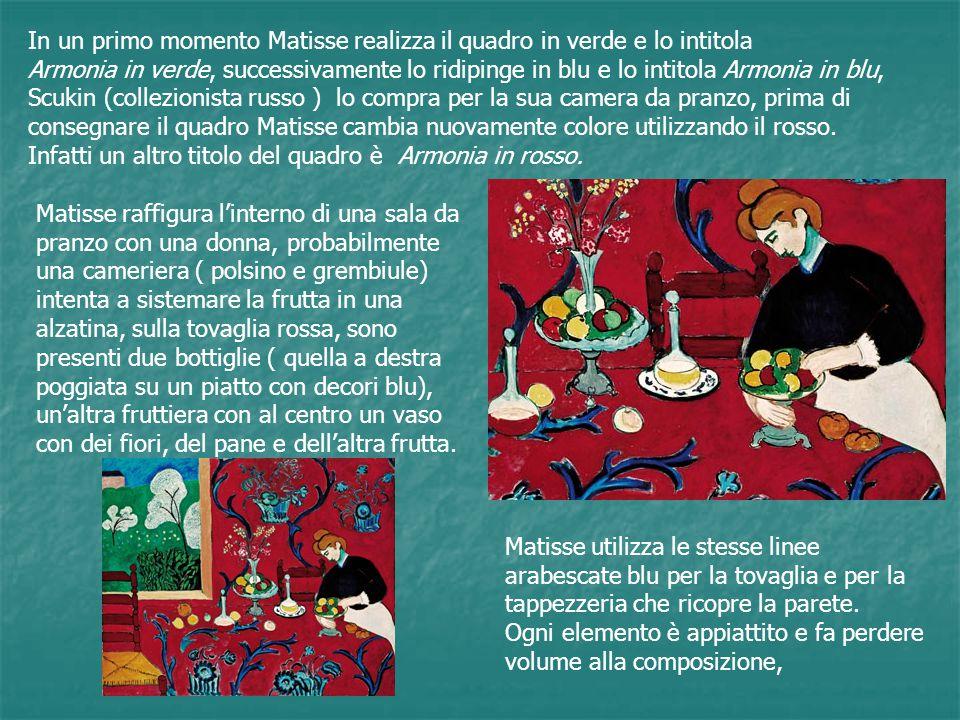 In un primo momento Matisse realizza il quadro in verde e lo intitola Armonia in verde, successivamente lo ridipinge in blu e lo intitola Armonia in b