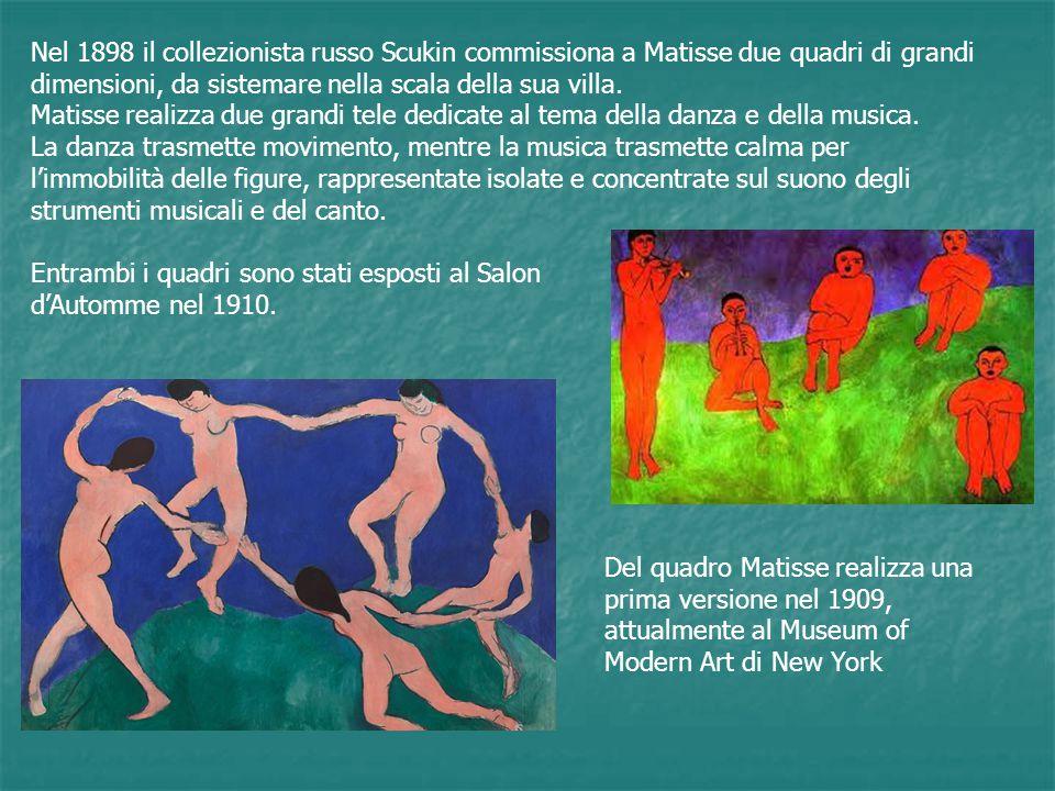 Nel 1898 il collezionista russo Scukin commissiona a Matisse due quadri di grandi dimensioni, da sistemare nella scala della sua villa. Matisse realiz
