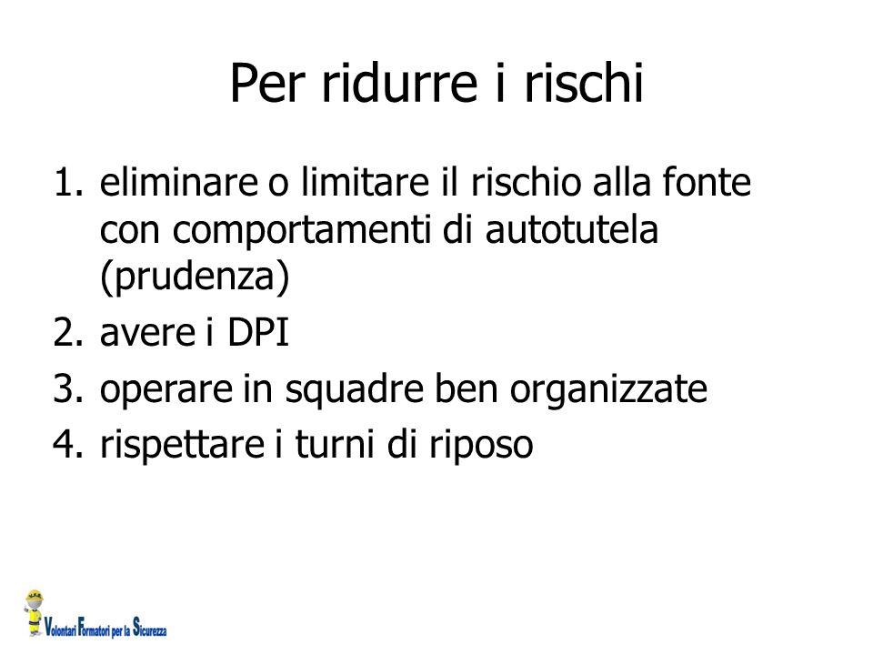 Per ridurre i rischi 1.eliminare o limitare il rischio alla fonte con comportamenti di autotutela (prudenza) 2.avere i DPI 3.operare in squadre ben or