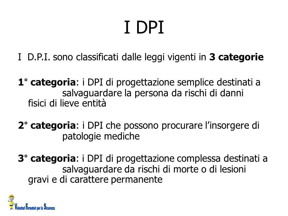 I DPI I D.P.I. sono classificati dalle leggi vigenti in 3 categorie 1° categoria: i DPI di progettazione semplice destinati a salvaguardare la persona