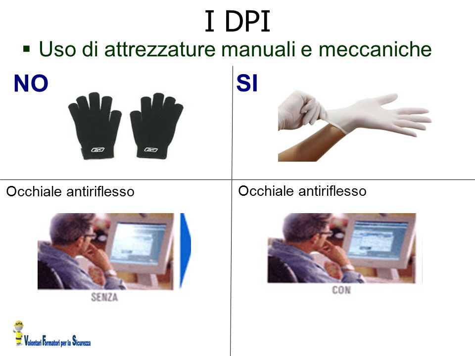  Uso di attrezzature manuali e meccaniche NO SI I DPI Occhiale antiriflesso