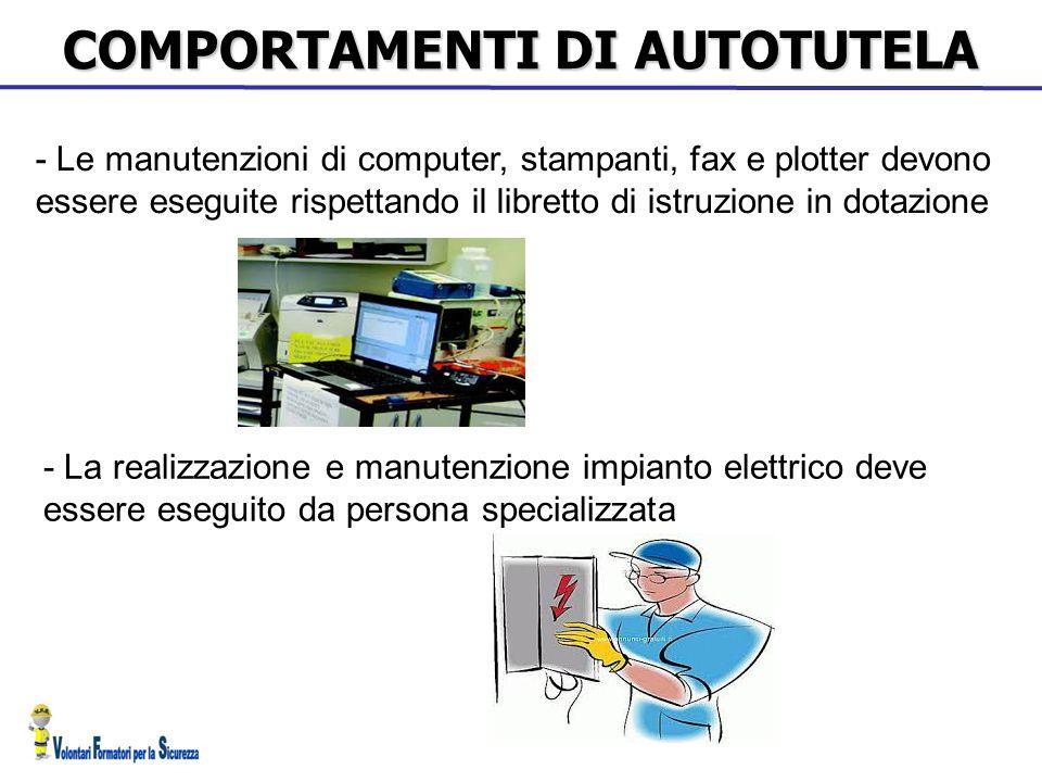COMPORTAMENTI DI AUTOTUTELA - Le manutenzioni di computer, stampanti, fax e plotter devono essere eseguite rispettando il libretto di istruzione in do