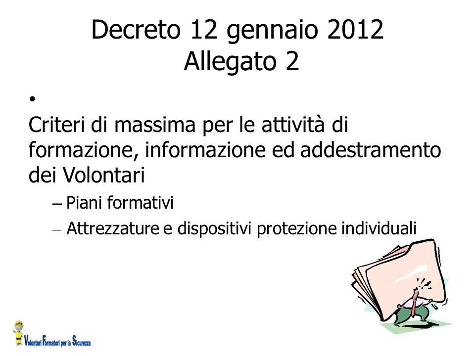 Decreto 12 gennaio 2012 Allegato 2 C Criteri di massima per le attività di formazione, informazione ed addestramento dei Volontari – Piani formativi –