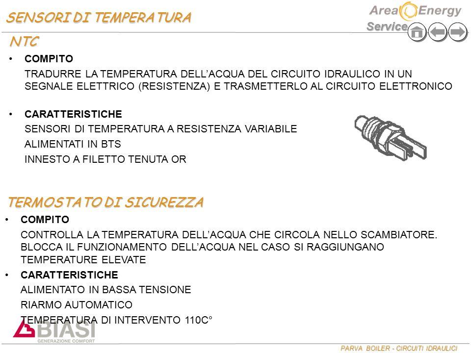 PARVA BOILER - CIRCUITI IDRAULICI Service SENSORI DI TEMPERATURA NTC COMPITO TRADURRE LA TEMPERATURA DELL'ACQUA DEL CIRCUITO IDRAULICO IN UN SEGNALE E