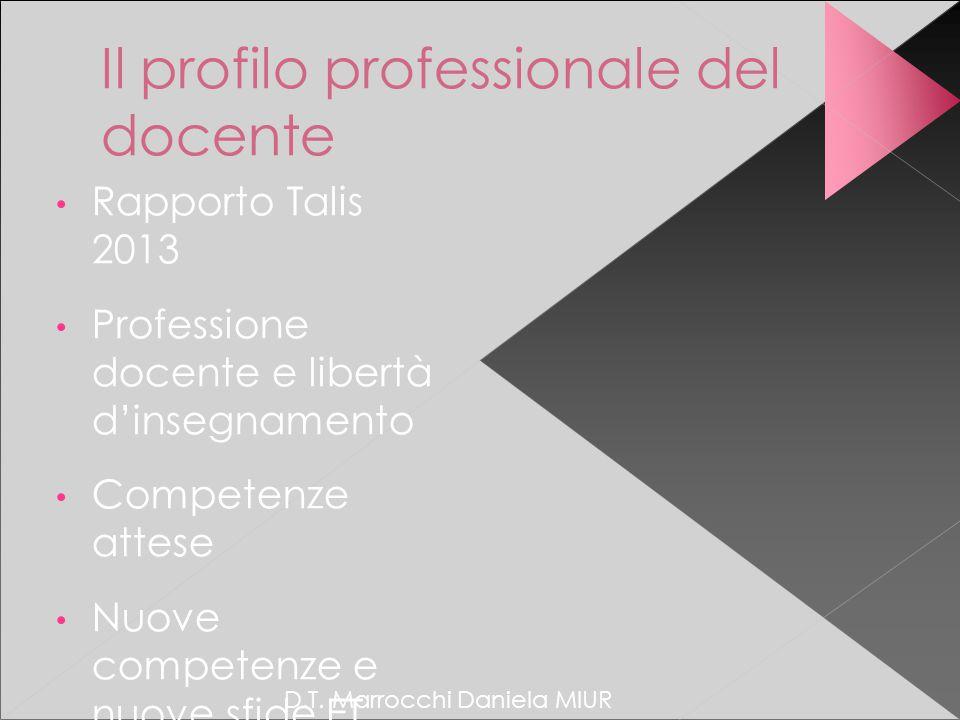 D.T. Marrocchi Daniela MIUR Il profilo professionale del docente Rapporto Talis 2013 Professione docente e libertà d'insegnamento Competenze attese Nu