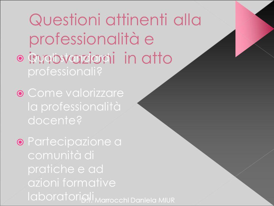 Questioni attinenti alla professionalità e innovazioni in atto  Quali standard professionali.