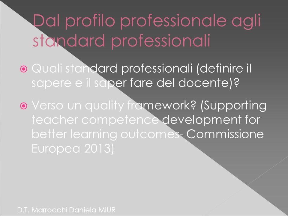 Dal profilo professionale agli standard professionali  Quali standard professionali (definire il sapere e il saper fare del docente).