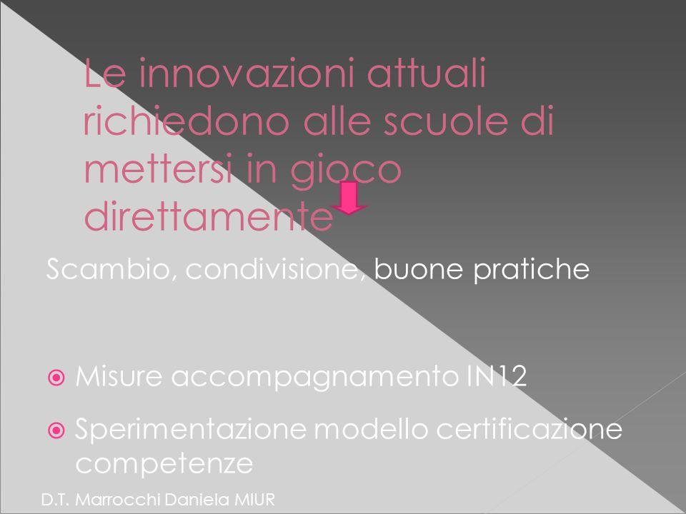 Le innovazioni attuali richiedono alle scuole di mettersi in gioco direttamente Scambio, condivisione, buone pratiche  Misure accompagnamento IN12  Sperimentazione modello certificazione competenze D.T.