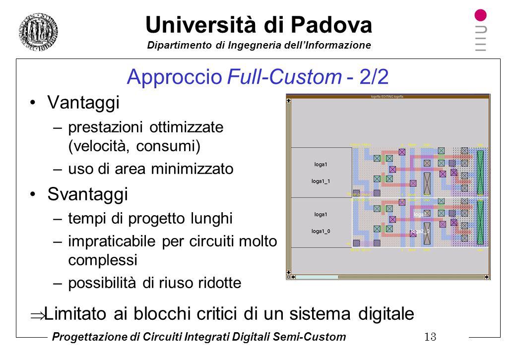 Università di Padova Dipartimento di Ingegneria dell'Informazione Progettazione di Circuiti Integrati Digitali Semi-Custom 12 Approccio Full-Custom -