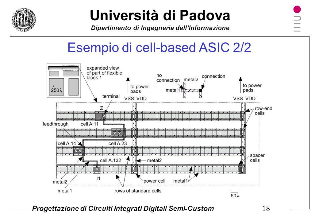Università di Padova Dipartimento di Ingegneria dell'Informazione Progettazione di Circuiti Integrati Digitali Semi-Custom 17 Esempio di cell-based AS