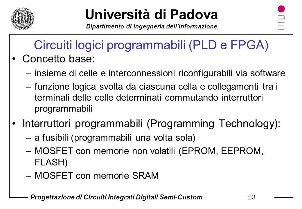 Università di Padova Dipartimento di Ingegneria dell'Informazione Progettazione di Circuiti Integrati Digitali Semi-Custom 22 Come si realizza un sist