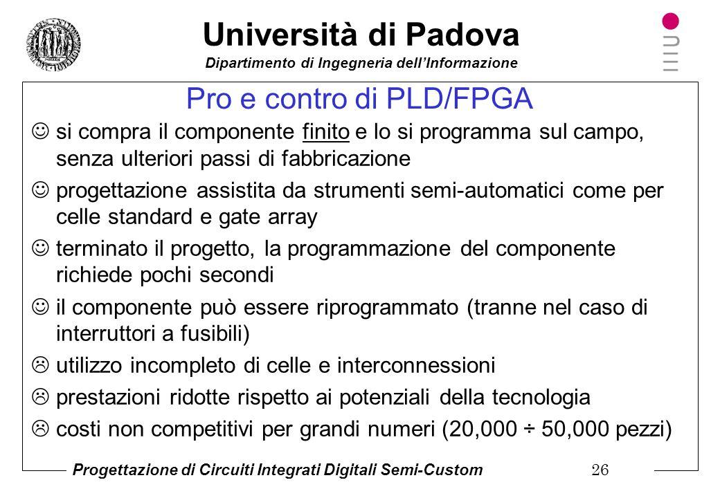 Università di Padova Dipartimento di Ingegneria dell'Informazione Progettazione di Circuiti Integrati Digitali Semi-Custom 25 Esempio di FPGA - 2/2 fu