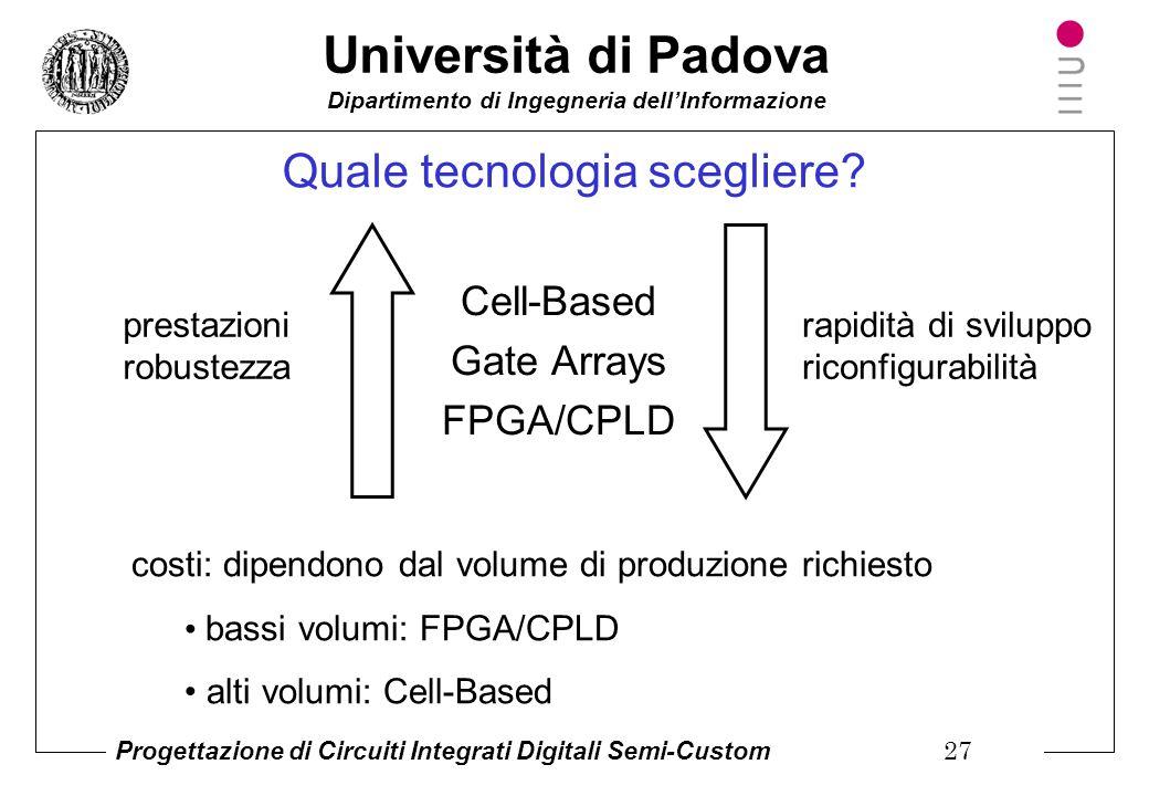 Università di Padova Dipartimento di Ingegneria dell'Informazione Progettazione di Circuiti Integrati Digitali Semi-Custom 26 Pro e contro di PLD/FPGA