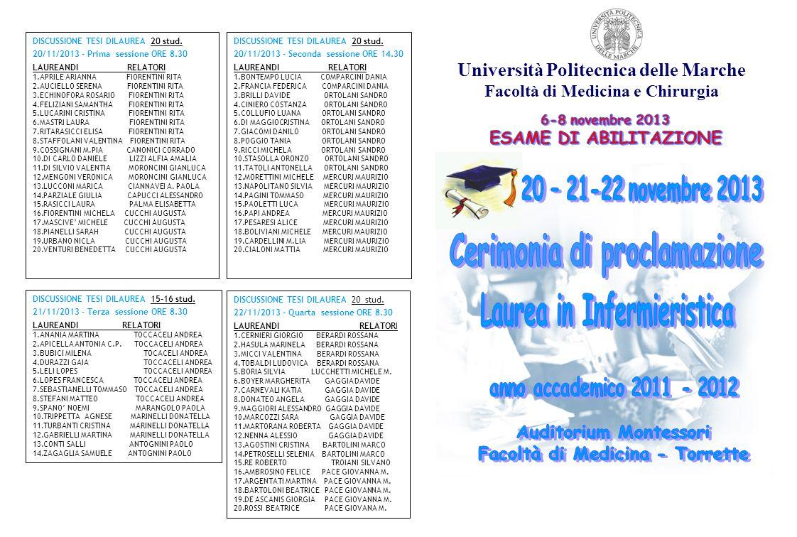 Università Politecnica delle Marche Facoltà di Medicina e Chirurgia DISCUSSIONE TESI DILAUREA 20 stud. 20/11/2013 - Prima sessione ORE 8.30 LAUREANDI