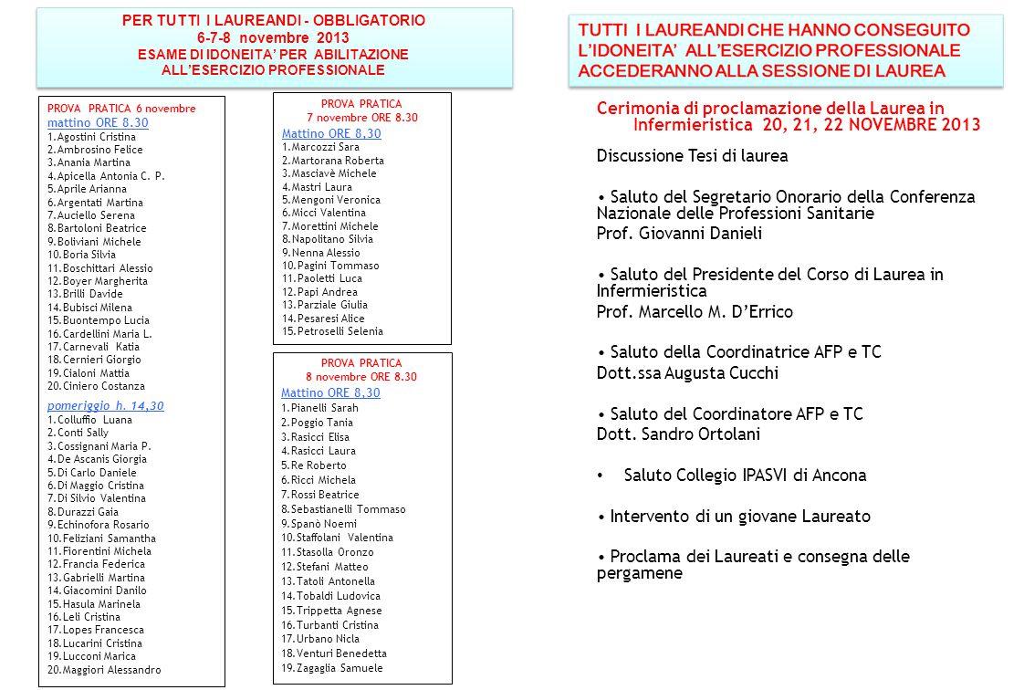 PER TUTTI I LAUREANDI - OBBLIGATORIO 6-7-8 novembre 2013 ESAME DI IDONEITA' PER ABILITAZIONE ALL'ESERCIZIO PROFESSIONALE PER TUTTI I LAUREANDI - OBBLI
