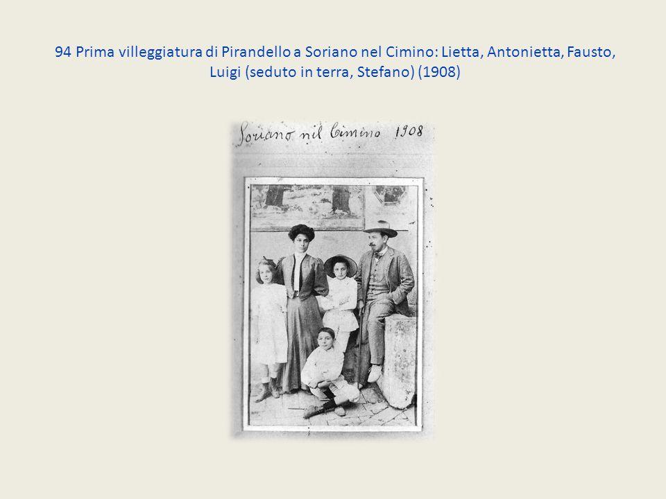 94 Prima villeggiatura di Pirandello a Soriano nel Cimino: Lietta, Antonietta, Fausto, Luigi (seduto in terra, Stefano) (1908)