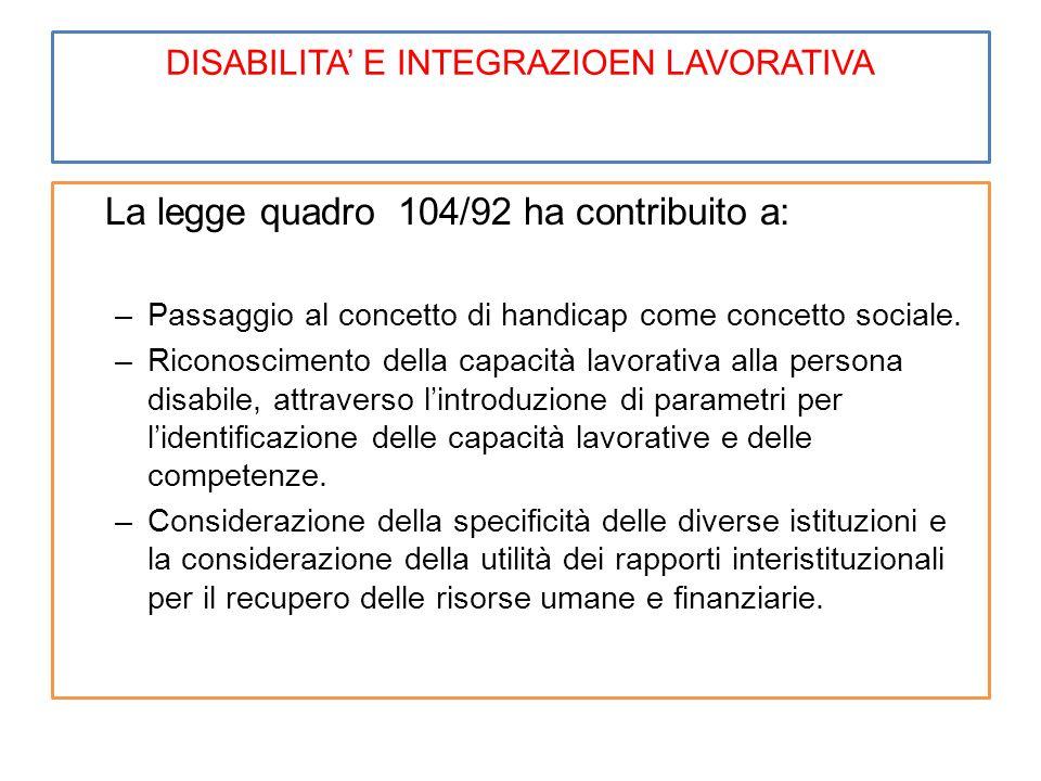 DISABILITA' E INTEGRAZIOEN LAVORATIVA La legge quadro 104/92 ha contribuito a: –Passaggio al concetto di handicap come concetto sociale. –Riconoscimen