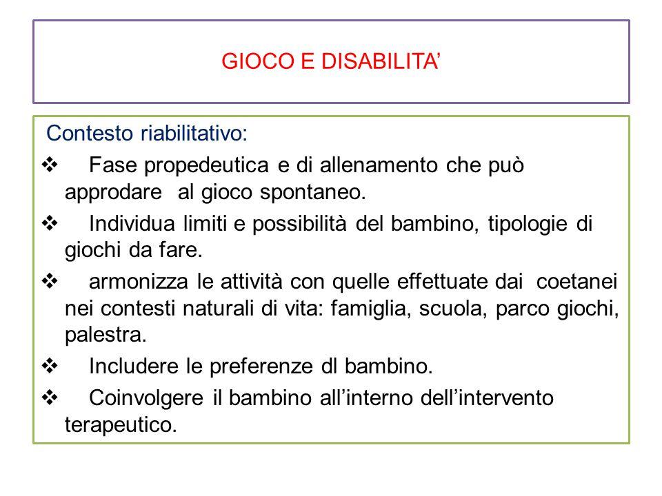 GIOCO E DISABILITA' Contesto riabilitativo:  Fase propedeutica e di allenamento che può approdare al gioco spontaneo.  Individua limiti e possibilit