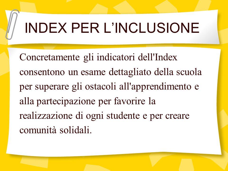 Concretamente gli indicatori dell'Index consentono un esame dettagliato della scuola per superare gli ostacoli all'apprendimento e alla partecipazione