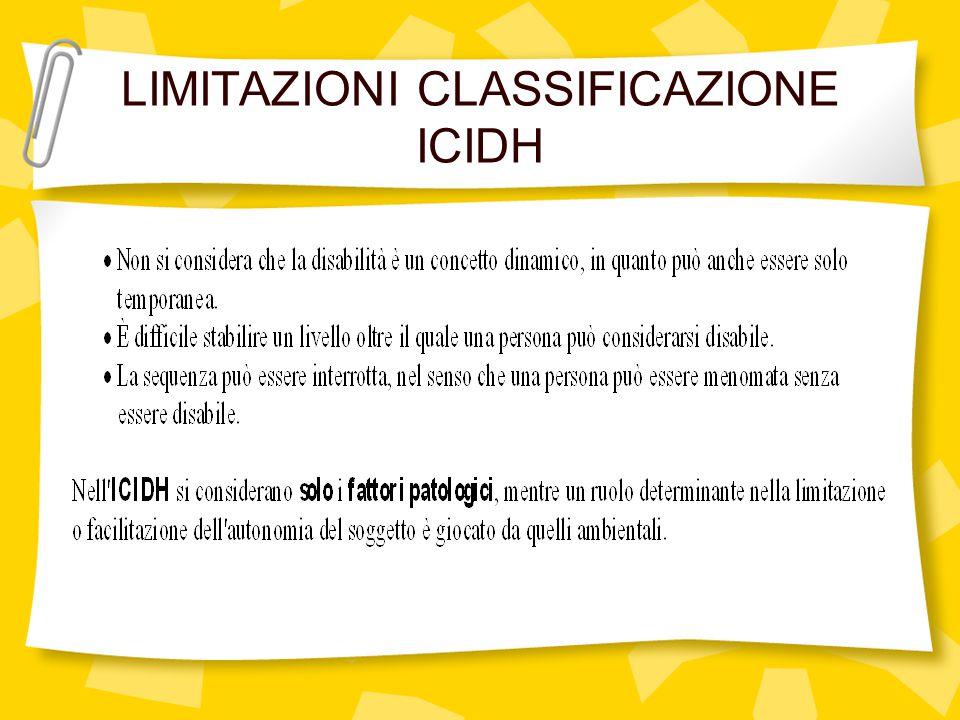 LIMITAZIONI CLASSIFICAZIONE ICIDH