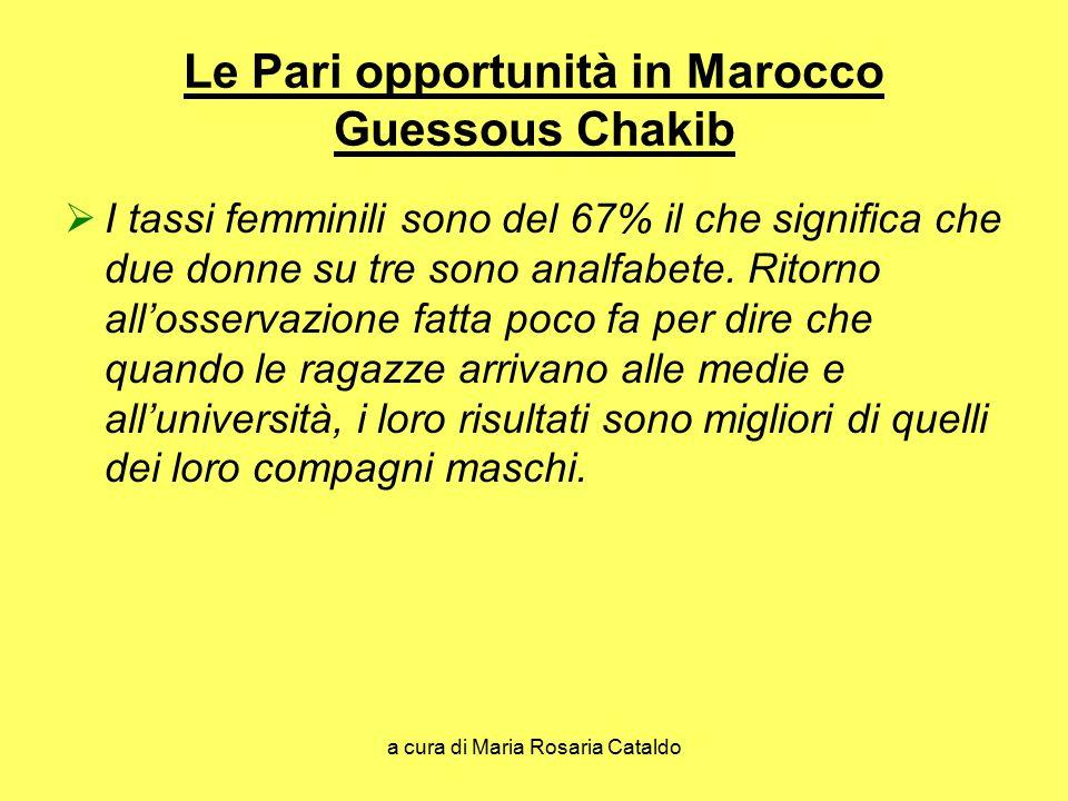 a cura di Maria Rosaria Cataldo Le Pari opportunità in Marocco Guessous Chakib  I tassi femminili sono del 67% il che significa che due donne su tre
