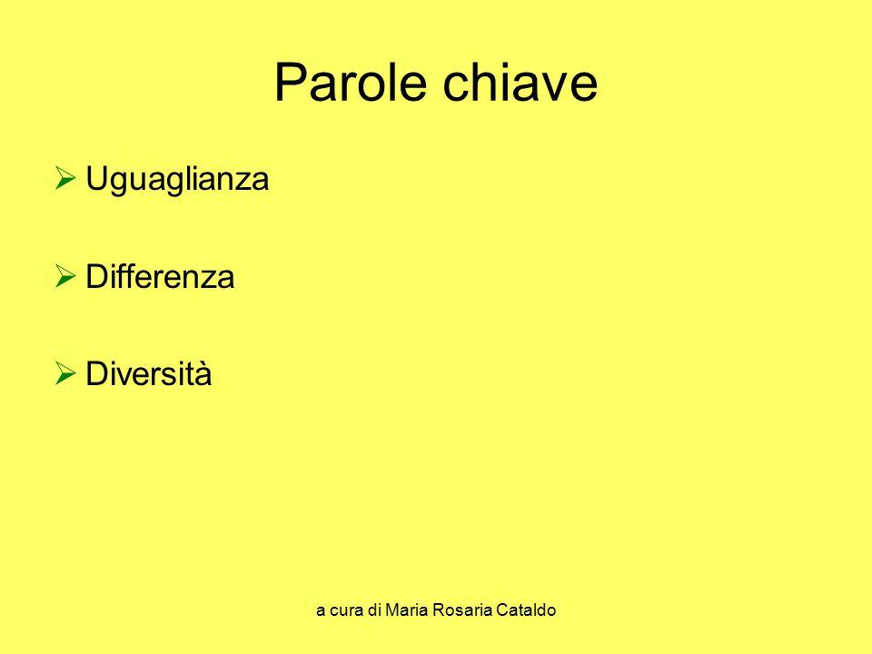 a cura di Maria Rosaria Cataldo Parole chiave  Uguaglianza  Differenza  Diversità