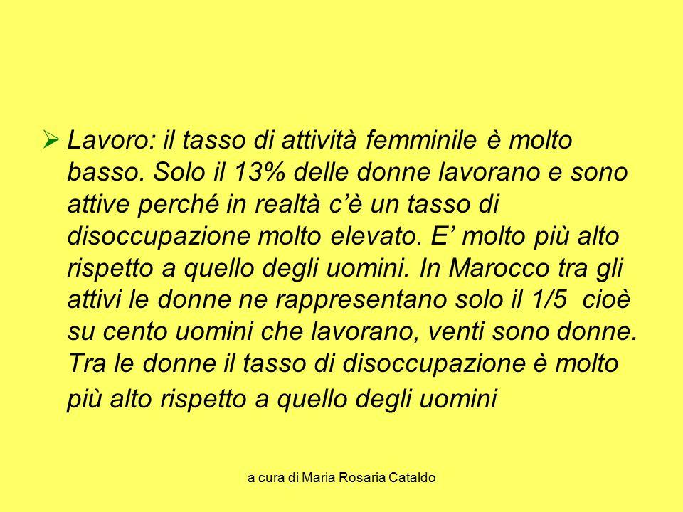 a cura di Maria Rosaria Cataldo  Lavoro: il tasso di attività femminile è molto basso. Solo il 13% delle donne lavorano e sono attive perché in realt