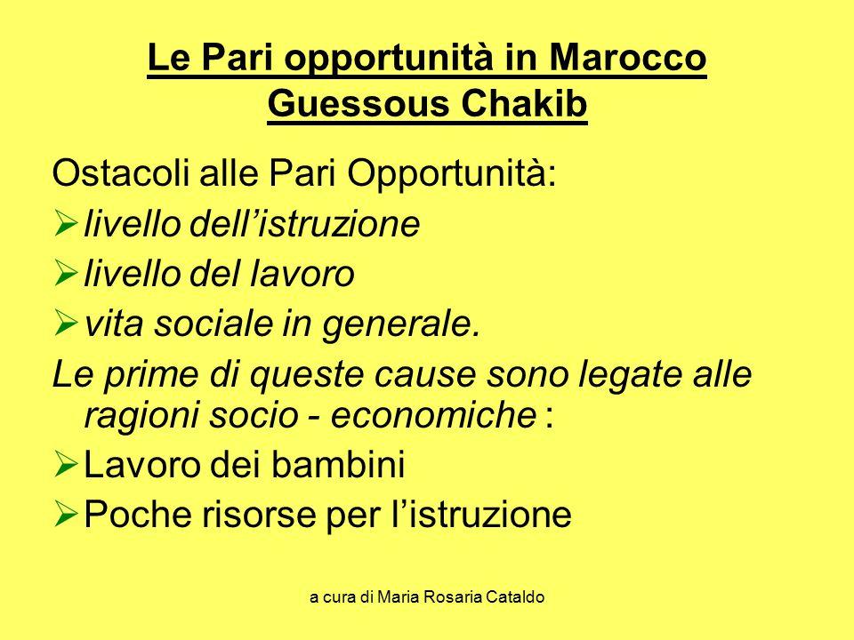 a cura di Maria Rosaria Cataldo Le Pari opportunità in Marocco Guessous Chakib Ostacoli alle Pari Opportunità:  livello dell'istruzione  livello del lavoro  vita sociale in generale.