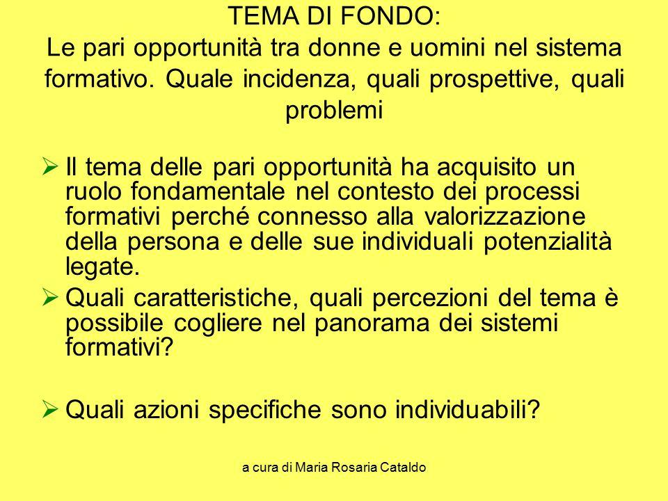 a cura di Maria Rosaria Cataldo TEMA DI FONDO: Le pari opportunità tra donne e uomini nel sistema formativo. Quale incidenza, quali prospettive, quali