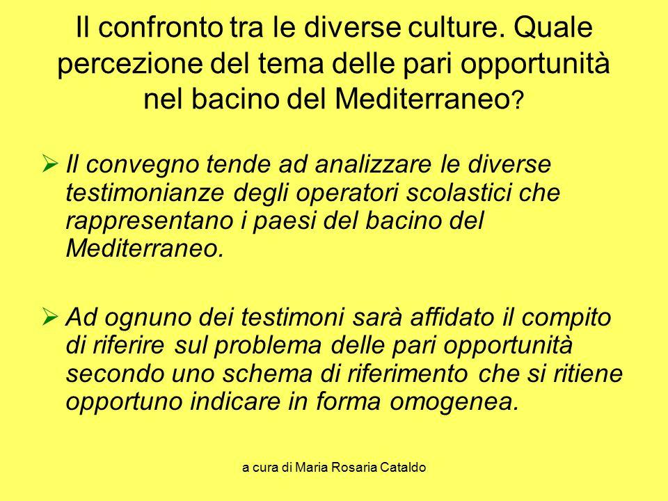 a cura di Maria Rosaria Cataldo Il confronto tra le diverse culture. Quale percezione del tema delle pari opportunità nel bacino del Mediterraneo ? 