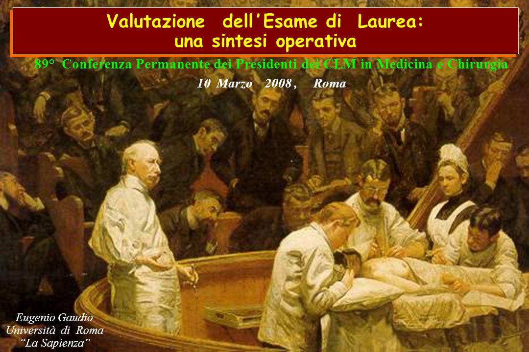 Eugenio Gaudio Università di Roma La Sapienza 89° Conferenza Permanente dei Presidenti dei CLM in Medicina e Chirurgia 10 Marzo 2008, Roma Valutazione dell ' Esame di Laurea: una sintesi operativa