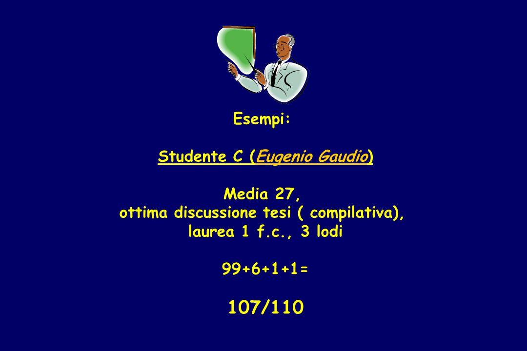 Esempi: Studente C (Eugenio Gaudio) Media 27, ottima discussione tesi ( compilativa), laurea 1 f.c., 3 lodi 99+6+1+1= 107/110