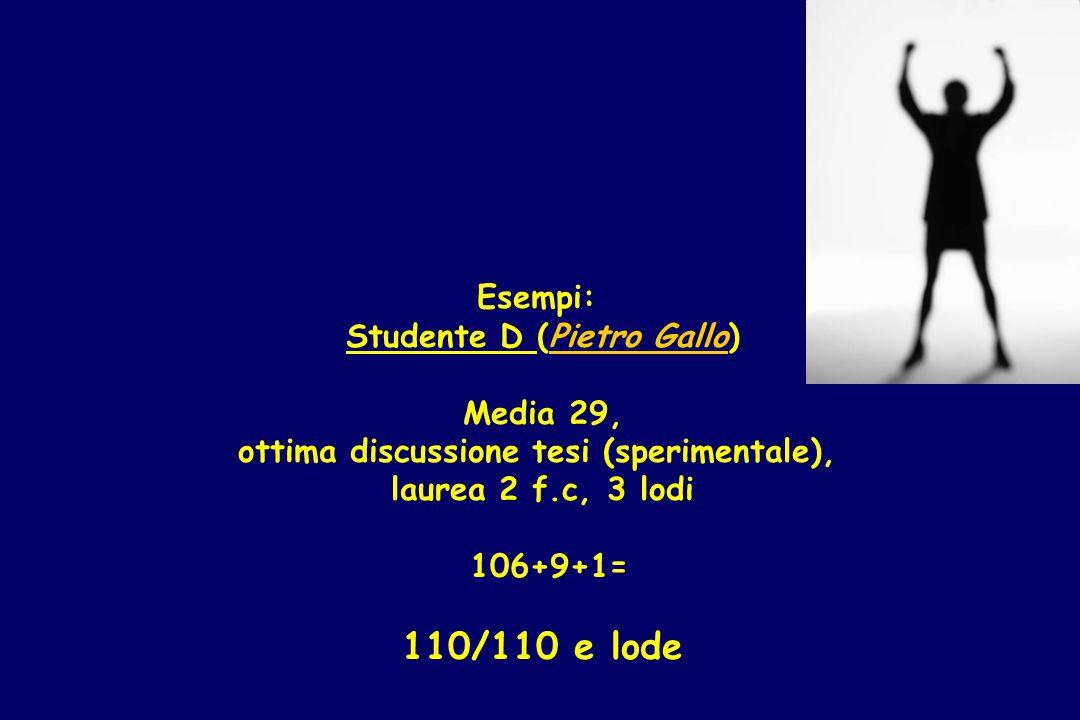 Esempi: Studente D (Pietro Gallo) Media 29, ottima discussione tesi (sperimentale), laurea 2 f.c, 3 lodi 106+9+1= 110/110 e lode