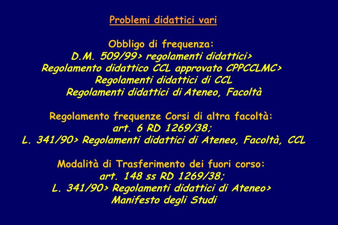 Problemi didattici vari Obbligo di frequenza: D.M.