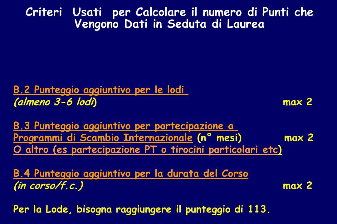 Criteri Usati per Calcolare il numero di Punti che Vengono Dati in Seduta di Laurea B.2 Punteggio aggiuntivo per le lodi (almeno 3-6 lodi) max 2 B.3 Punteggio aggiuntivo per partecipazione a Programmi di Scambio Internazionale (n° mesi) max 2 O altro (es partecipazione PT o tirocini particolari etc) B.4 Punteggio aggiuntivo per la durata del Corso (in corso/f.c.) max 2 Per la Lode, bisogna raggiungere il punteggio di 113.
