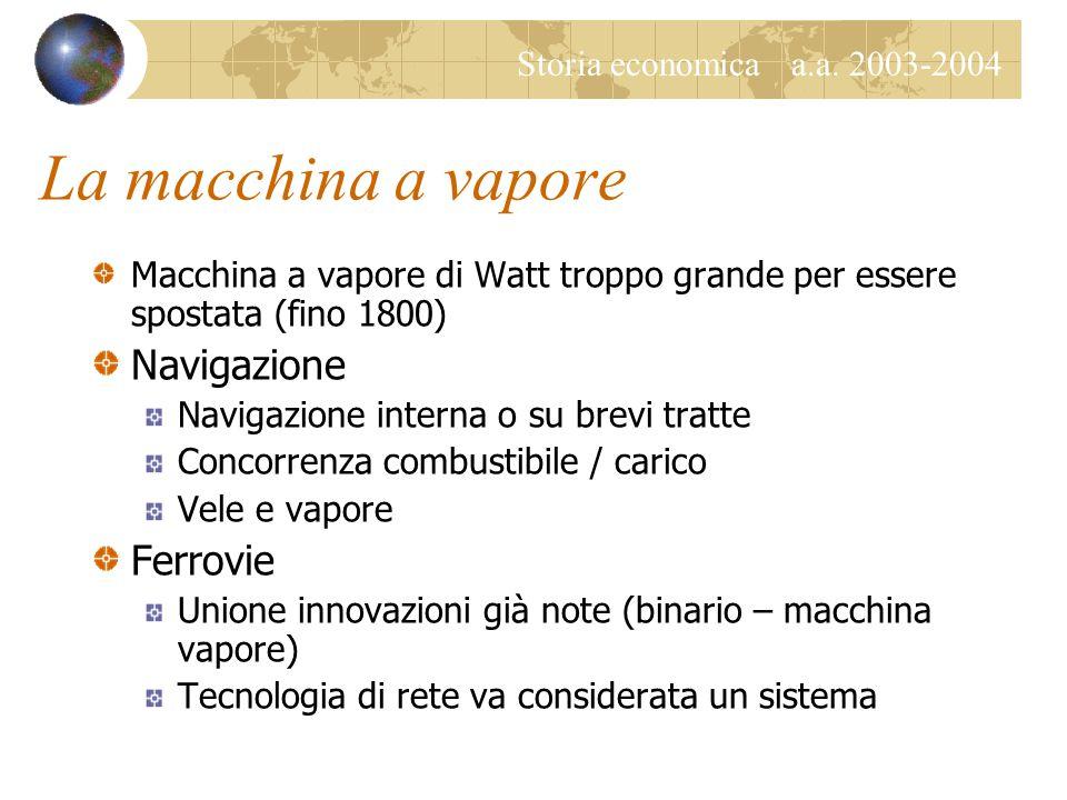 Storia economica a.a. 2003-2004 La macchina a vapore Macchina a vapore di Watt troppo grande per essere spostata (fino 1800) Navigazione Navigazione i