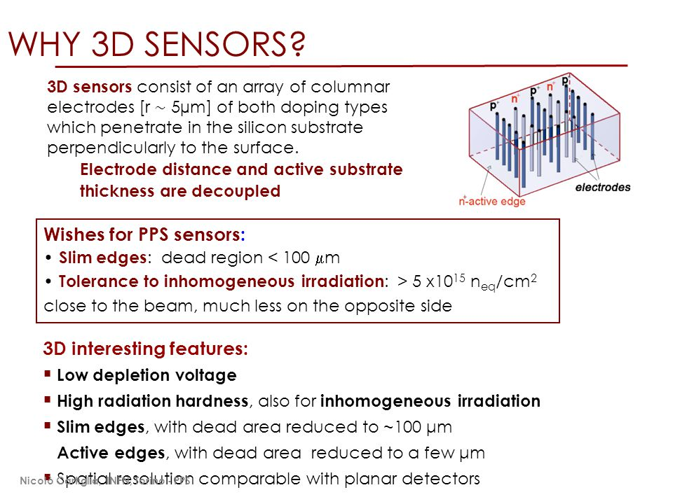WHY 3D SENSORS? 3D interesting features:  Low depletion voltage  High radiation hardness, also for inhomogeneous irradiation  Slim edges, with dead