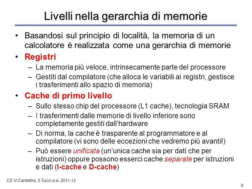CE-V.Cardellini, S.Tucci a.a. 2011-12 9 Livelli nella gerarchia di memorie Basandosi sul principio di località, la memoria di un calcolatore è realizz